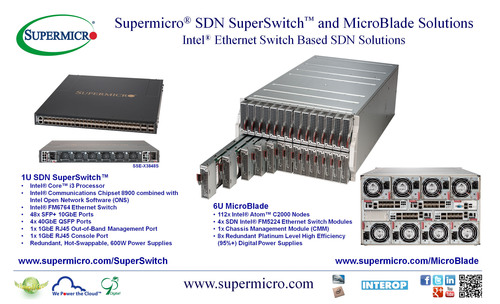 Supermicro(R) SDN SuperSwitch(TM) and MicroBlade Solutions @ Interop 2014 Las Vegas. (PRNewsFoto/Super Micro Computer, Inc.) (PRNewsFoto/SUPER MICRO COMPUTER_ INC_)