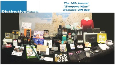 """The record-setting 2016 """"Everyone Wins"""" Nominee Gift Bag from Distinctive Assets."""