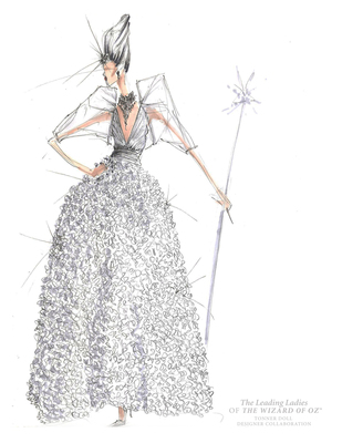BCBGMAXAZRIA's sketch of Glinda the Good Witch's costume for Warner Bros. Consumer Products and Tonner Doll's Leading Ladies of The Wizard of Oz program