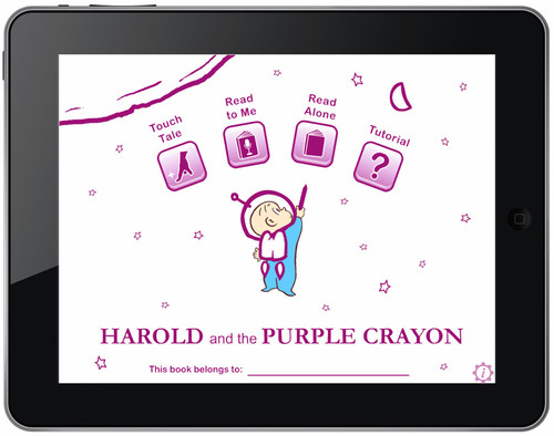 Harold and the Purple Crayon is an interactive storybook edition of Crockett Johnson's classic children's tale and has already climbed to #1 in the iPad Book App Chart. (PRNewsFoto/Trilogy Studios)