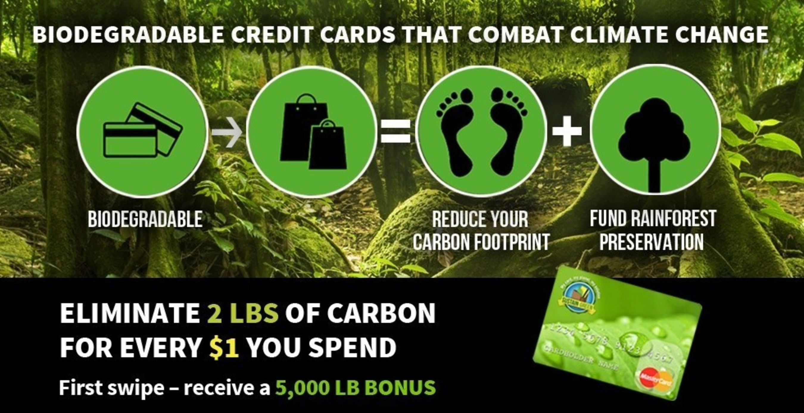 New biodegradable Sustain:Green MasterCard rewards cardholders with carbon offsets on their everyday purchases to help fund rainforest preservation projects in Brazil.