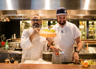 Chef Massimo Bottura takes over Momofuku Ko in NYC during the S.Pellegrino presents THE GRAND GELINAZ! SHUFFLE.