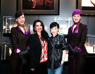 (From left to right, flanked by Etihad Airways cabin crew), Amina Taher, Head of Corporate Communications - Etihad Airways and Sandra Choi, Creative Director - Jimmy Choo celebrate the opening of the Jimmy Choo VIP Lounge hosted by Etihad Airways and WME | IMG at Skylight at Moynihan Station.