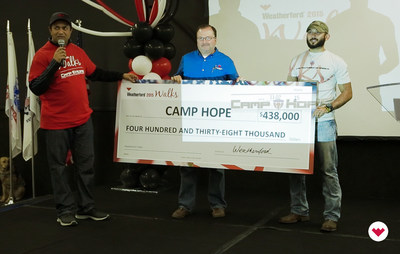 Krishna Shivram, Executive Vice President and CFO of Weatherford, presents a check to Camp Hope.