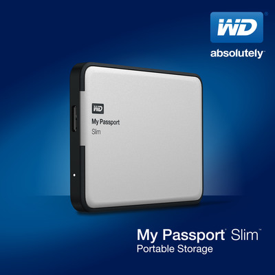 My Passport(R) Slim(TM) First 2 TB Thin Drive With Metal Case And Hardware Encryption.  (PRNewsFoto/WD)