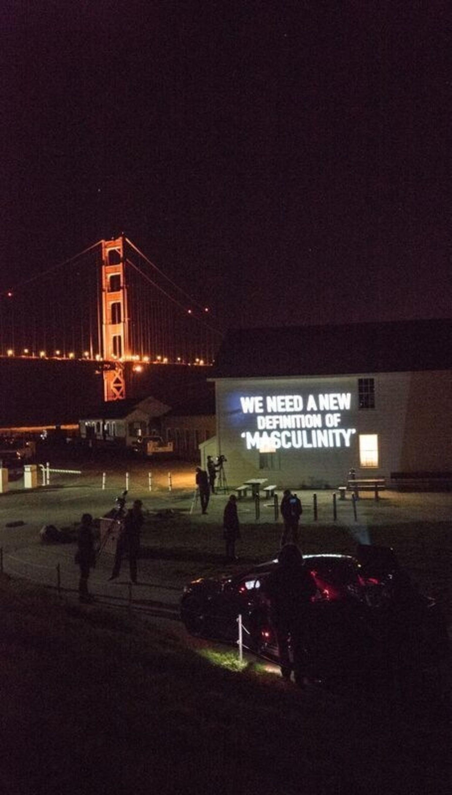 #BeAModelMan images on San Francisco landmarks (here Golden Gate Bridge) uses focus of Super Bowl week to promote anti-violence message.