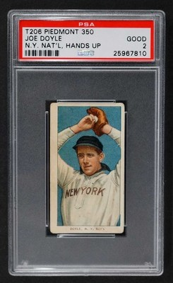 T206 Piedmont Joe Doyle N.Y. Nat'l Hands Up error baseball card to be auctioned Aug. 18, 2016. Estimate: $100,000-$200,000. MBA Seattle Auction House image