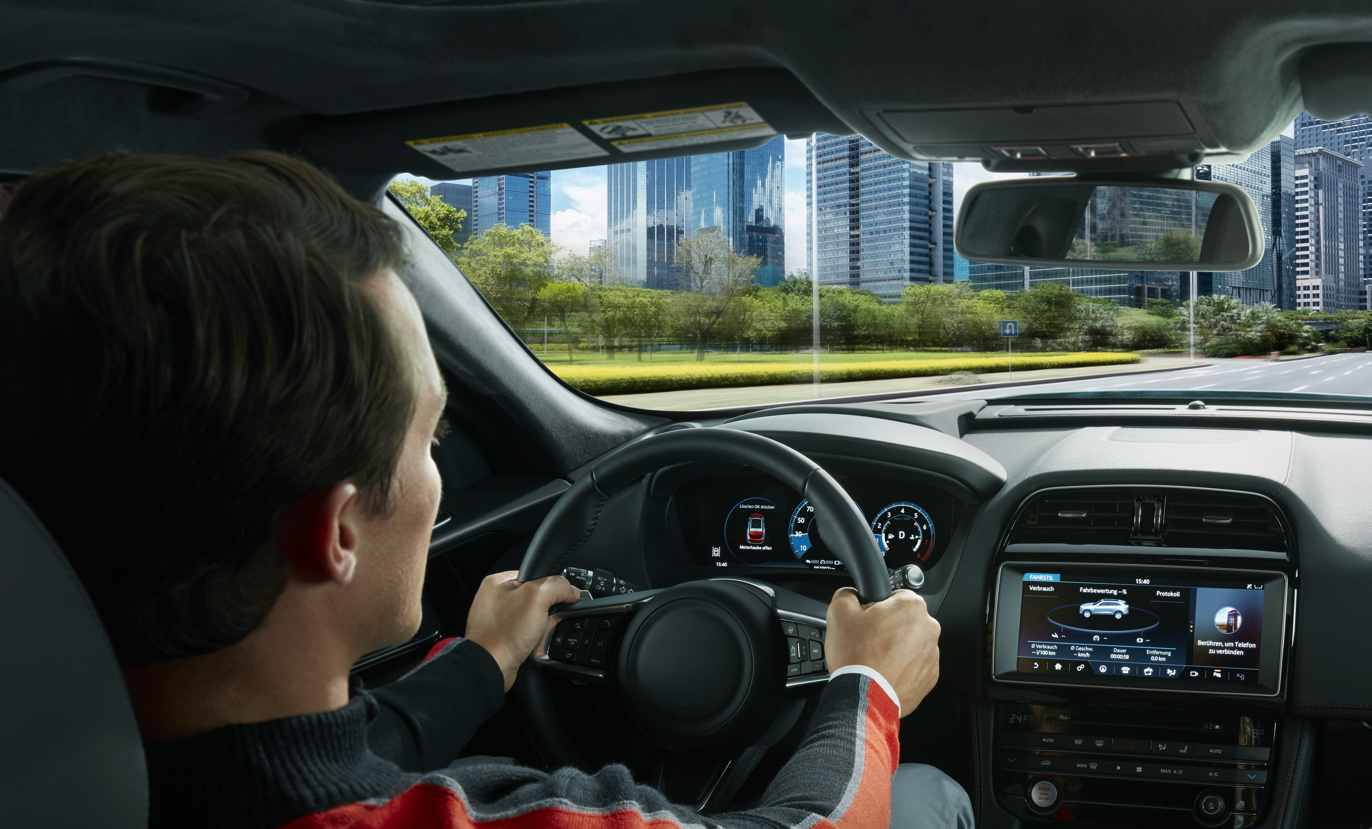 Jaguar F-PACE with 12.3-inch fully reconfigurable instrument cluster and 10-inch center display from Visteon.