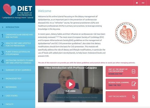 'New EAS-Endorsed Training Resource: DyslipidaemIa ManagEment Tutorial - DIET at the Heart of CVD Prevention' (PRNewsFoto/DIET at Heart of CVD Prevention)