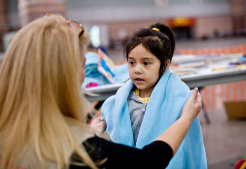 Didi, 4, at a Save the Children Child-Friendly Space in an Atlantic City shelter after Superstorm Sandy. Photo by Susan Warner.  (PRNewsFoto/Save the Children)