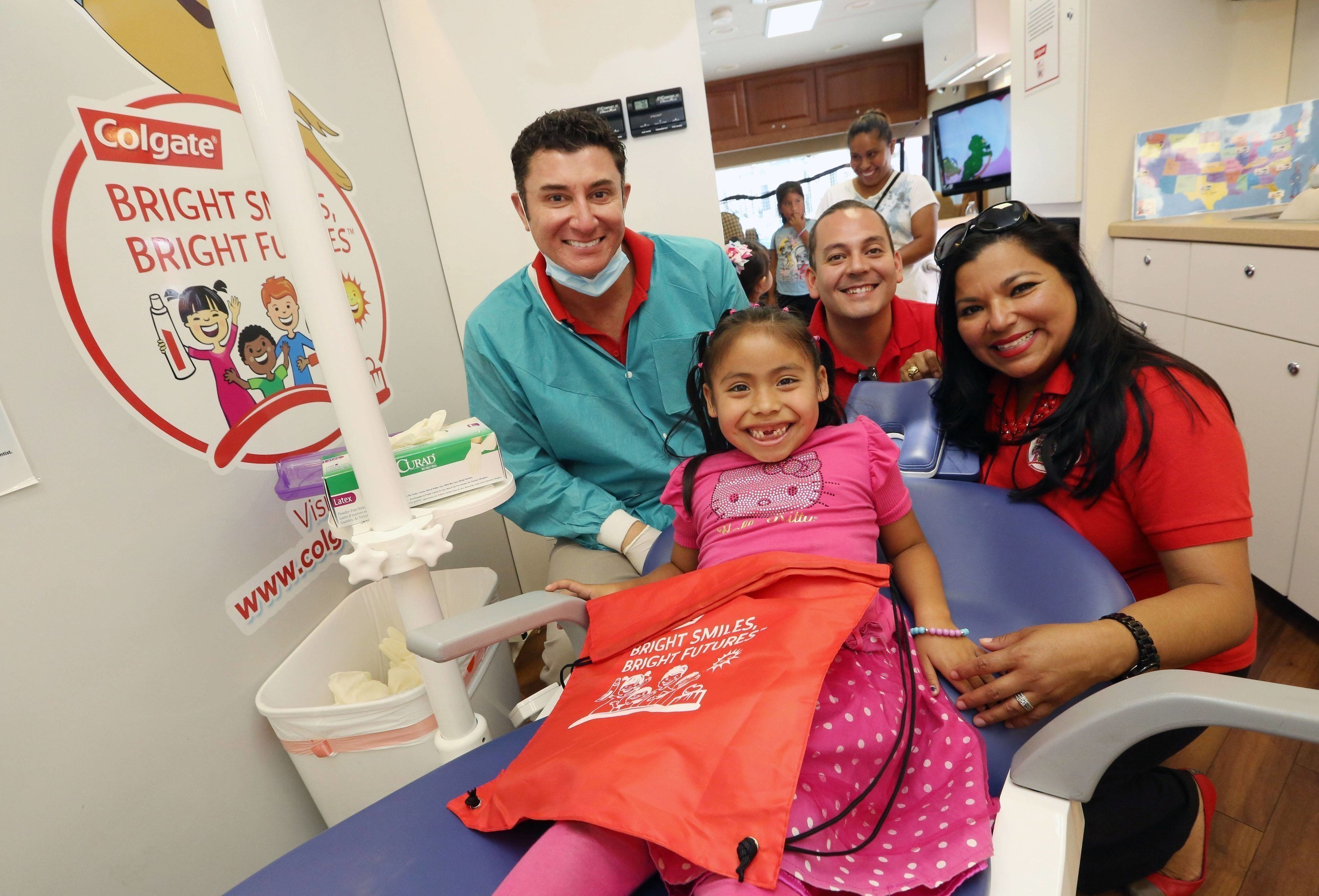 Colgate Bright Smiles, Bright Futures(TM) mobile dental van that provides children ages 3-12 with free dental screenings and oral health education in various Hispanic communities in the U.S.