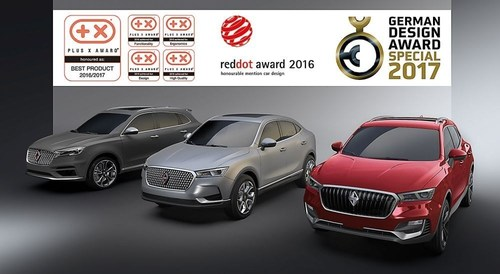 It all began with the Red Dot Award, continued with the Plus X Award, and has now culminated with the German Design Award in a triple win for the 2016 automobile year. (PRNewsFoto/BORGWARD GROUP AG)