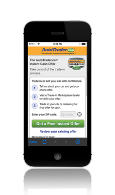Consumers can now generate a Trade-In Marketplace Instant Cash Offer via their mobile phones through the AutoTrader.com mobile site or through the AutoTrader.com apps for iPhones and Android smartphones. (PRNewsFoto/AutoTrader.com)