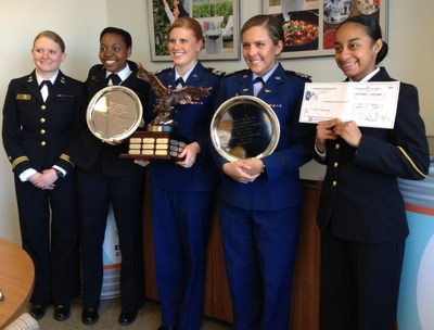 From left to right:  Midshipman First Class Jodi Cull-Host, Midshipman Second Class Jeanelle Seals, Midshipman Second Class Alyssa Whyte, Cadet Second Class Madison Martin, Cadet First Class Bailee Harnett
