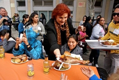Fred Jordan Mission's Annual Traditional Thanksgiving Banquet for Thousands of Poor & Homeless Children, Women and Men on Skid Row