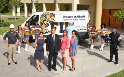"Florida International University's (FIU) College of Engineering and Computing and Chrysler Group officials join in celebrating the launch of ""Engineers on Wheels,"" an innovative program that will deliver engineering education to South Florida students beginning this fall. Pictured L to R: Dr. Amir Mirmiran, Dean College of Engineering and Computing, FIU; Nicole Kaufman Glasgow, Assistant Vice President Office of Engagement, FIU; Dr. Irma Becerra-Fernandez, Vice President Office of Engagement, FIU; and Georgette Borrego Dulworth, Director Talent Acquisition and Diversity, Chrysler Group LLC (PRNewsFoto/Chrysler Group LLC)"
