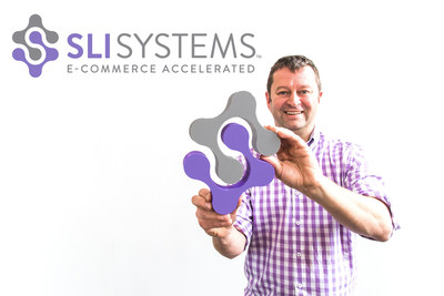 SLI Systems, worldwide e-commerce acceleration provider and site search innovator, launches new logo and branding. CEO, Shaun Ryan demonstrates a 3D-printed logo with pride (PRNewsFoto/SLI Systems)