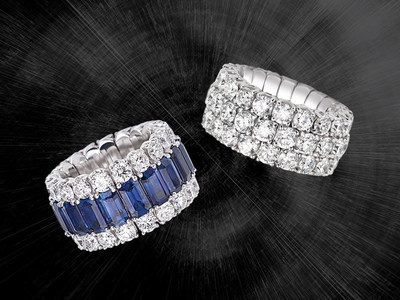 A sapphire and diamond ring and a round brilliant-cut diamond ring from the Xpandable Collection by PICCHIOTTI.