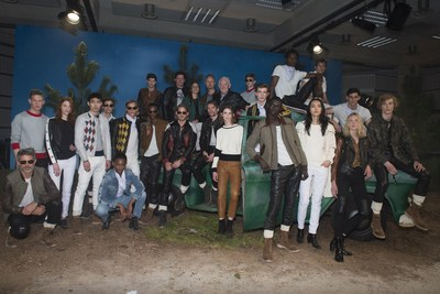 Belstaff SS17 London Collections Men. Group image from the Belstaff Presentation; Back row from Left; Model, Dougie Lampkin (MBE), Delphine Ninous (VP Women's Design), Frederik Dyhr (VP Mens Design), Sammy Miller (MBE), Model (PRNewsFoto/Belstaff)