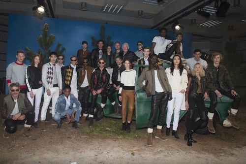 Belstaff SS17 London Collections Men. Group image from the Belstaff Presentation; Back row from Left; Model, ...