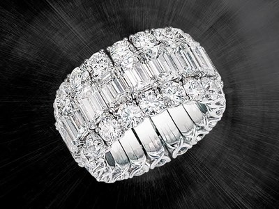 Picchiotti Xpandable(TM) White Gold Round and Emerald-Cut Diamond Ring. For more information, please visit www.xpandable.it