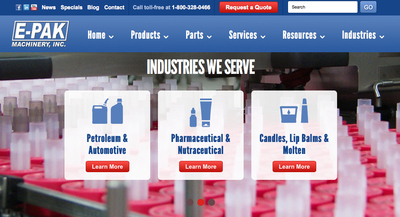 Bottling equipment company, E-PAK Machinery launches new website.  (PRNewsFoto/E-PAK Machinery, Inc.)