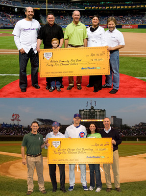 Above: Pitching legend John Smoltz, with representatives from AutoTrader.com and Georgia Best Chevy dealerships present a check in the amount of $45,000 to the Atlanta Community Food Bank (ACFB) on Sept. 16 at Turner Field. Below: Cubs relief pitcher Kerry Wood and representatives from AutoTrader.com present a check in the amount of $25,000 to the Greater Chicago Food Depository on Sept. 20 at Wrigley Field. In total, the Drive Away Hunger campaigns in Atlanta and Chicago raised more than $80,000 and 25,000 pounds of food for local food banks in the two cities.  (PRNewsFoto/AutoTrader.com)