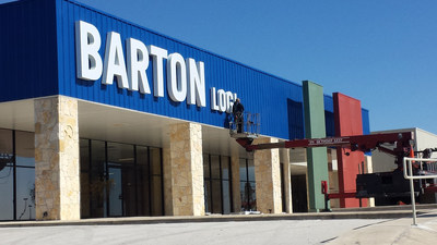 Workers ready the new Barton Logistics headquarters in Bandera, Texas.