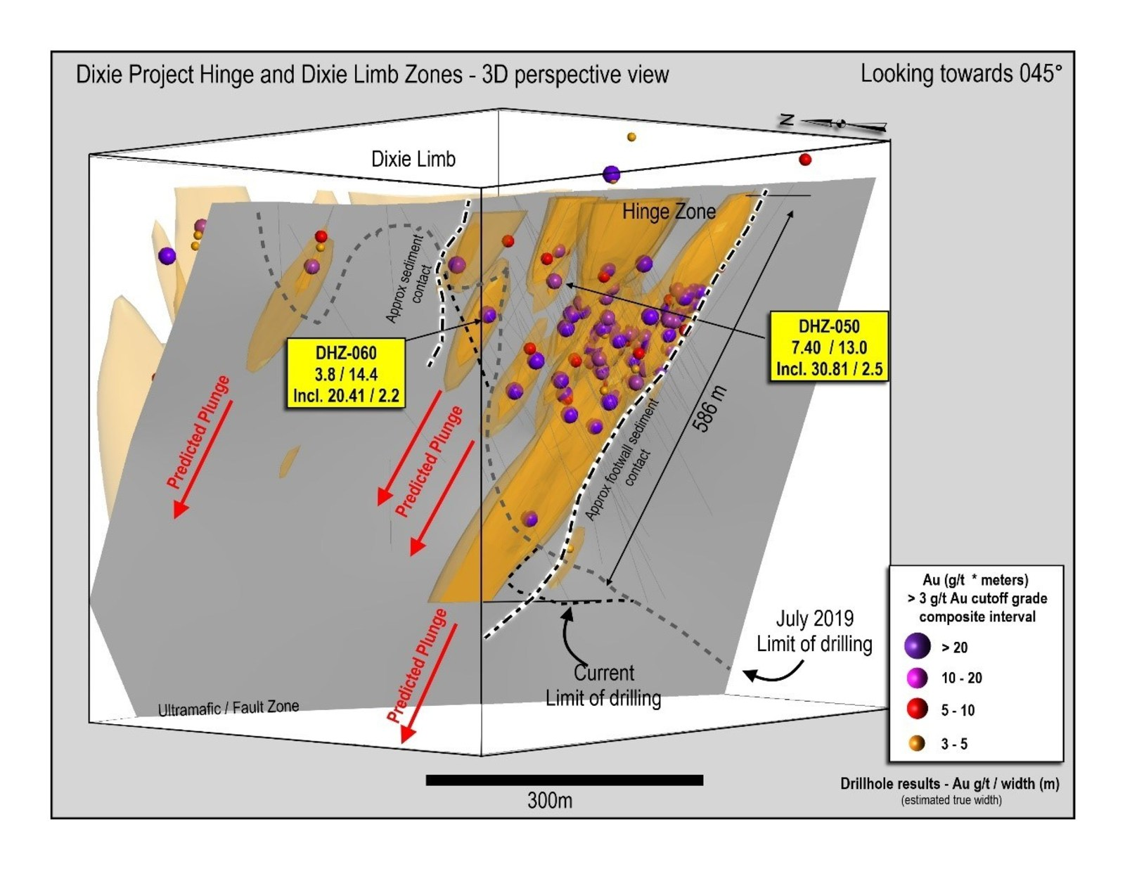 Figure 1: 3D section of the Hinge Zone drilling to-date, view to northeast, showing steeply plunging mineralization and predicted down-plunge high-grade zone geometries.  All zones remain open to extension.  Limits of current drilling shown with dashed line.  Currently interpreted sediment contacts also shown in highlighted dashed lines.
