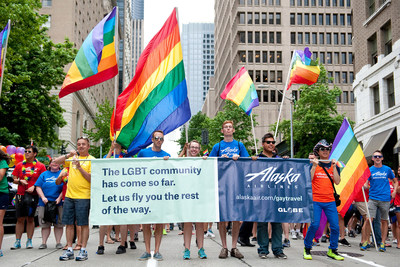 Alaska Airlines employees march in the 2015 Seattle Pride Parade