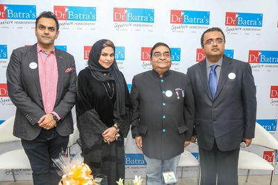 Dr. Akshay Batra, MD and Vice Chairman, Dr Batra's® Group of Companies; Her Excellency Sheikha Majd Saud Al-Qassimi Vice-President of Women's Union Association; Dr. Mukesh Batra, Founder and Chairman, Dr Batra's® Group of Companies and Kartik Bhatt, CEO – International Business, Dr Batra's® at the launch of Dr Batra's® Signature Homeopathy Clinic at Al Wasl