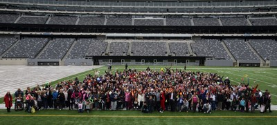 The John Theurer Cancer Center at HackensackUMC celebrated with nearly 4,000 cancer survivors, patients, families and supporters at the Eighth Annual Celebrating Life and Liberty Event on Sunday, October 9, at MetLife Stadium. The crowd gathers on the 50-yard line for the event's highest attendance to date.