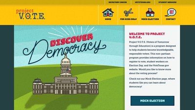 Project V.O.T.E., a Texas Secretary of State's Office program to help educate students about the democratic process and become knowledgeable, responsible voters, is launching a new website and features in advance of the Nov. 8 general election, including a mock presidential election for young Texans.