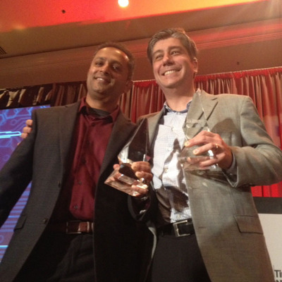 Altera takes home a pair of aces.  Manish Deo (left), product marketing manager, and Alex Grbic, director of software marketing, receive EETimes and EDN ACE awards for innovations in FPGA technology on behalf of Altera.