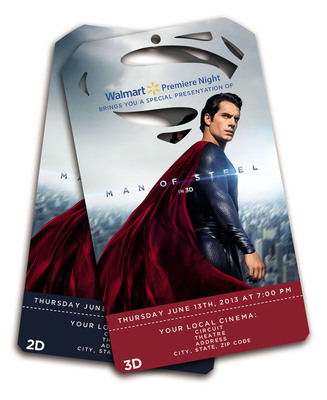 Walmart Premiere Night tickets for exclusive, advance screening of Warner Bros.' MAN OF STEEL go on sale at 8am on May 18 at Walmart stores nationwide.  (PRNewsFoto/Warner Bros.)