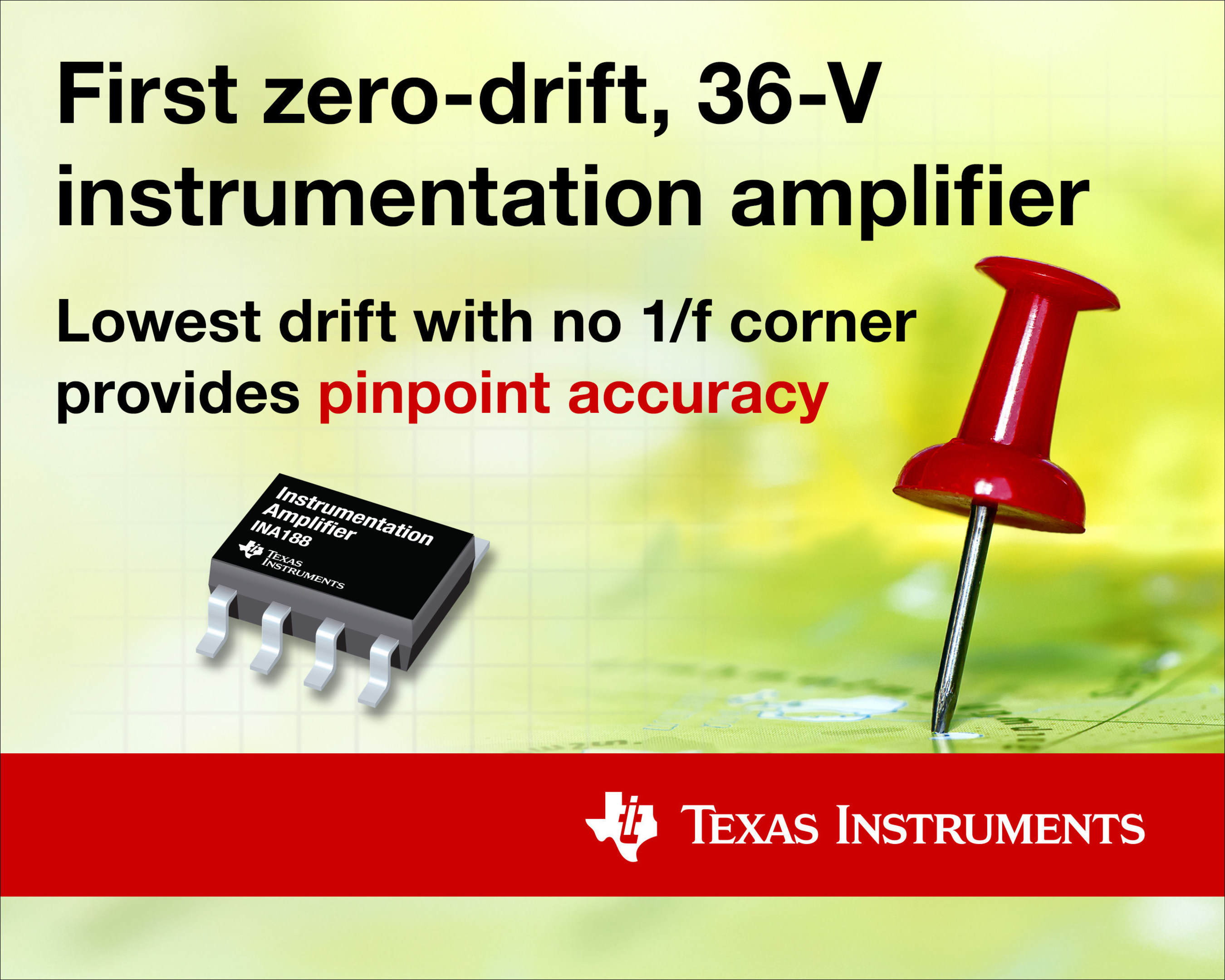 TI enables precise measurement with the first zero-drift, 36-V instrumentation amplifier