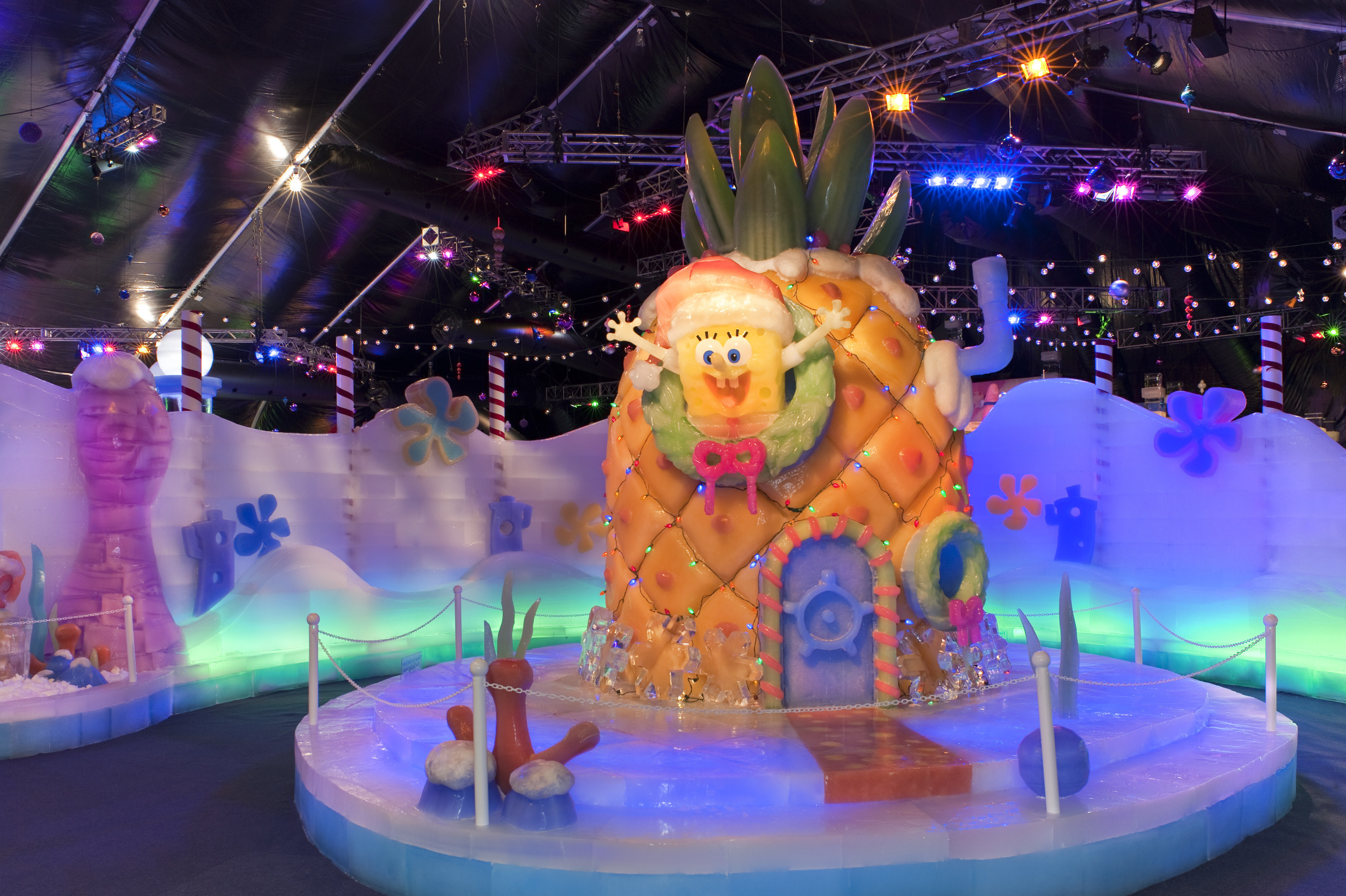 The new ICE LAND Ice Sculptures with SpongeBob SquarePants is one of many holiday attractions that Moody Gardens offers for visitors looking for a fun family getaway this holiday getaway to Galveston Island in Texas. Inspired by the Snow & Ice Festival in Harbin, China; guests will enjoy over 50 towering ice sculptures as the ideal complement to the popular Festival of Lights, holiday 3D and 4D films, Arctic Ice Slide, Ice skating, hotel, spa and more.