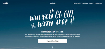 New outdoor activity finder launched at REI.com/opt-outside to help people reconnect with family and friends this holiday season and declare support