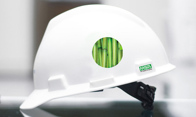The V-Gard(R) GRN Hard Hat from MSA is the first safety product produced from nearly 100 percent renewable resources.  Its distinctive shell is made from sugarcane, making it the first hard hat that not only protects wearers, but the environment as well. (PRNewsFoto/MSA)