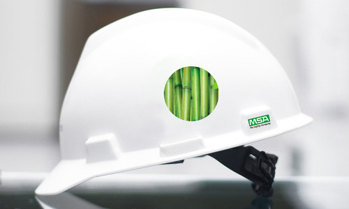 The V-Gard(R) GRN Hard Hat from MSA is the first safety product produced from nearly 100 percent renewable resources. Its distinctive shell is made from sugarcane, making it the first hard hat that not only protects wearers, but the environment as well. (PRNewsFoto/MSA) (PRNewsFoto/MSA)