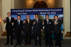 (L-R) Director of HKTB U.S. Mr. Bill Flora, Executive Director of HKTB Mr. Anthony Lau, Chairman of HKTB Dr. Peter Lam, Deputy Director-General of TTB Dr. Wayne Liu, Director of TTB New York Mr. Thomas Chang, and Director of TTB Los Angeles Mr. Brad Shih share a toast to solidify the multi-destination partnership between the Hog Kong Tourism Board (HKTB) and Taiwan Tourism Bureau (TTB) on Thursday, March 10, 2016, in New York. (Photo/Yifu Chien).