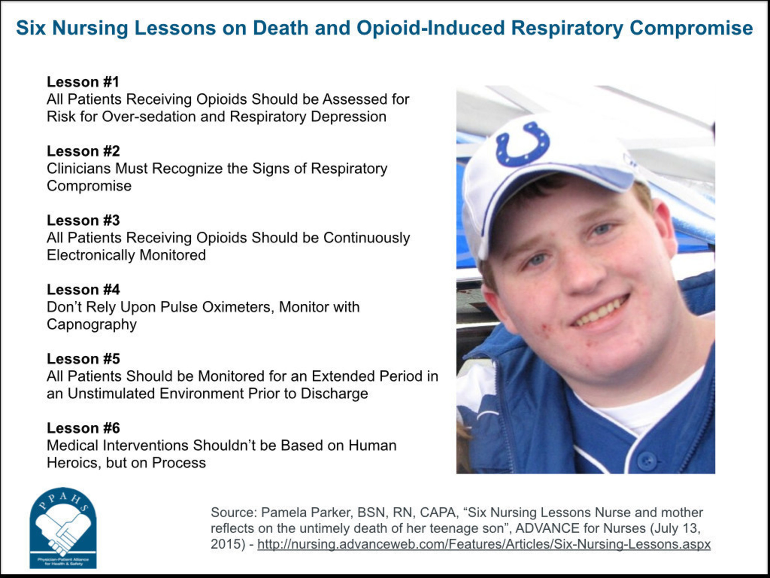 Six lessons on death and opioid-induced respiratory compromise in honor of the death anniversary of 17-year old Logan