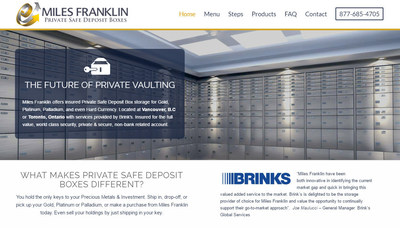 Precious Metal Storage Leader Miles Franklin Offers New Private Safe Deposit Boxes for Gold, Platinum and Palladium - With Services Provided by Brink's