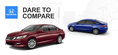 Comparing the 2014 Honda Accord against the 2014 Ford Fusion starts pretty close. The new Accord pulls away quickly once the criteria his performance and fuel-economy.  (PRNewsFoto/Howdy Honda)
