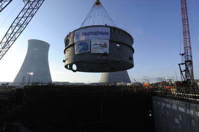 The 1.9 million-pound lower ring for Unit 4 is lifted into place at the Vogtle nuclear expansion near Waynesboro, Georgia.