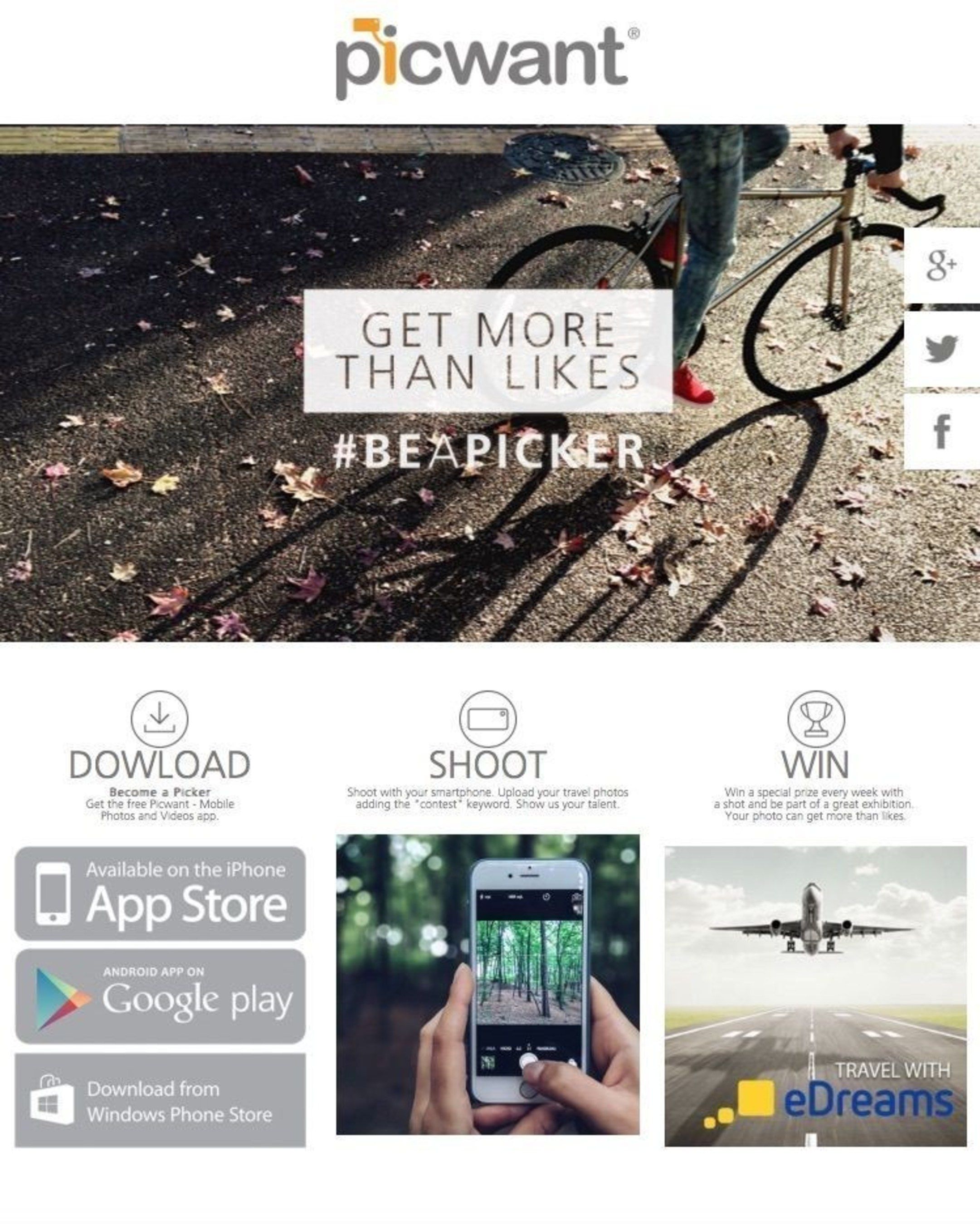 """""""Get more than likes"""", the  international mobile photo contest by Picwant. (PRNewsFoto/Picwant)"""