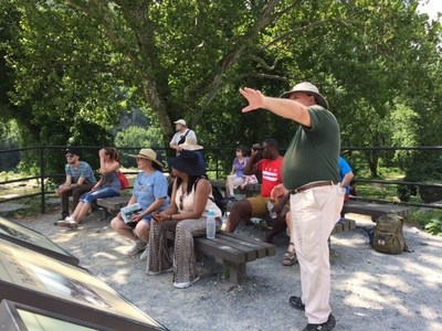 Injured veterans and guests recently took part in a guided walking tour of Harpers Ferry and learned about the town's role in American history.