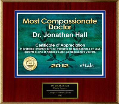 Patients Honor Dr. Jonathan Hall for Compassion.  (PRNewsFoto/American Registry)