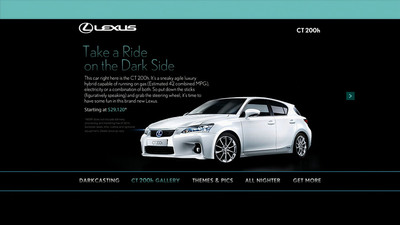 """The CT 200h gallery landing page within the Lexus """"All-Nighter"""" branded destination experience on Xbox LIVE"""