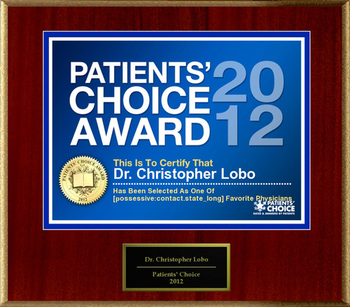 Dr. Lobo of Punta Gorda, FL has been named a Patients' Choice Award Winner for 2012.  (PRNewsFoto/American Registry)